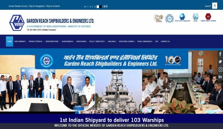 Garden Reach Shipbuilders & Engineers Ltd. - GRSE Limited Recruitment 2020 - 10th / ITI / Diploma / Degree Passed 226 Apprentice Posts